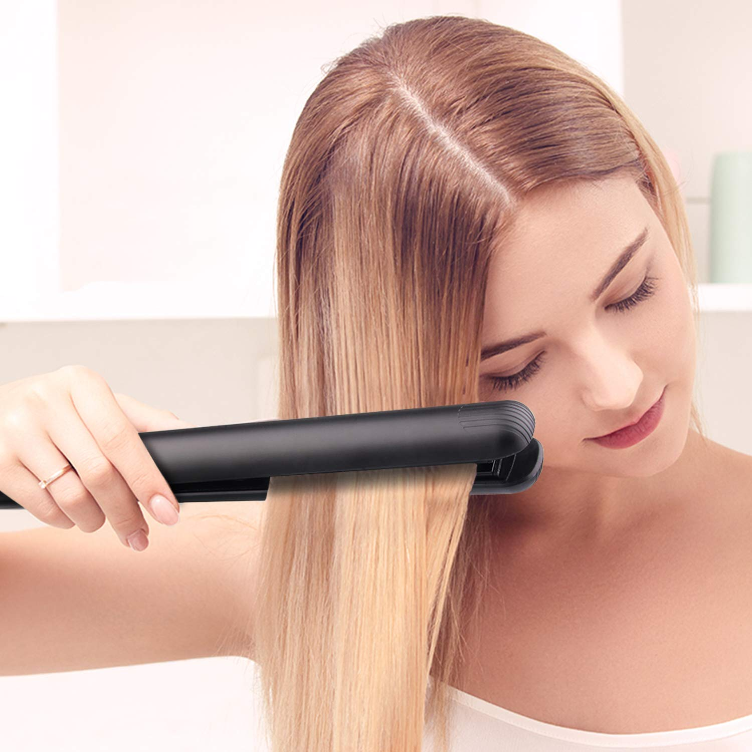 Hair Straightener and Curler Flat Iron for Ceramic Hair Straightening Iron Wide Plate 360 Swivel Cord, Heat up Fast Hair Iron with Rotating Adjustable Temperature and Salon High Heat 255 F-450 F