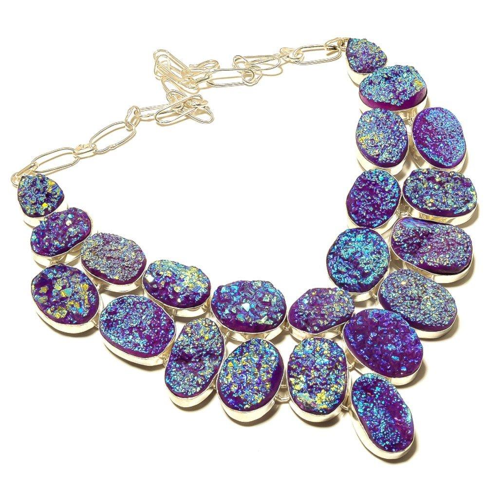Fantastic Purple Sparking Titanium Druzy Silver Overlay 183 Gram Necklace 17-18