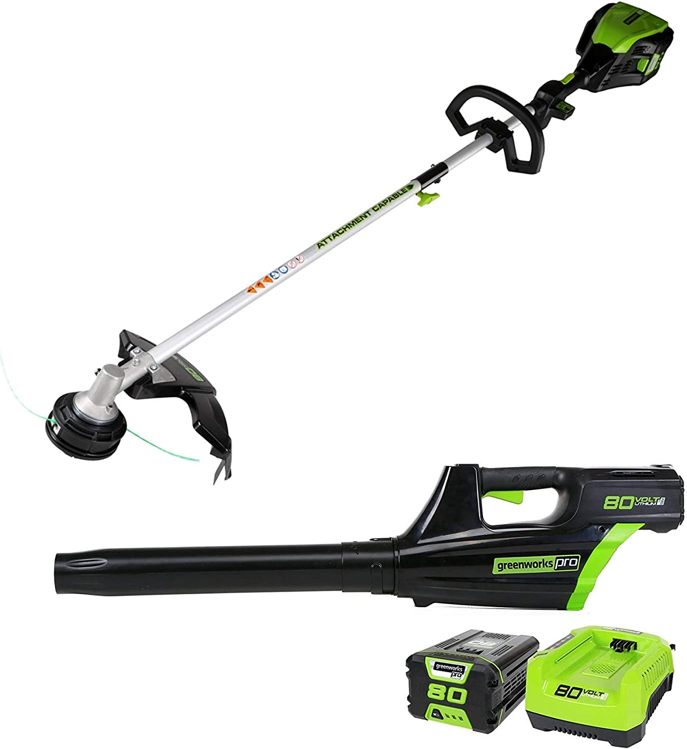 """Greenworks Pro 80V Cordless Brushless 16"""" String Trimmer + Axial Blower Combo Kit, Battery and Rapid Charger Included"""