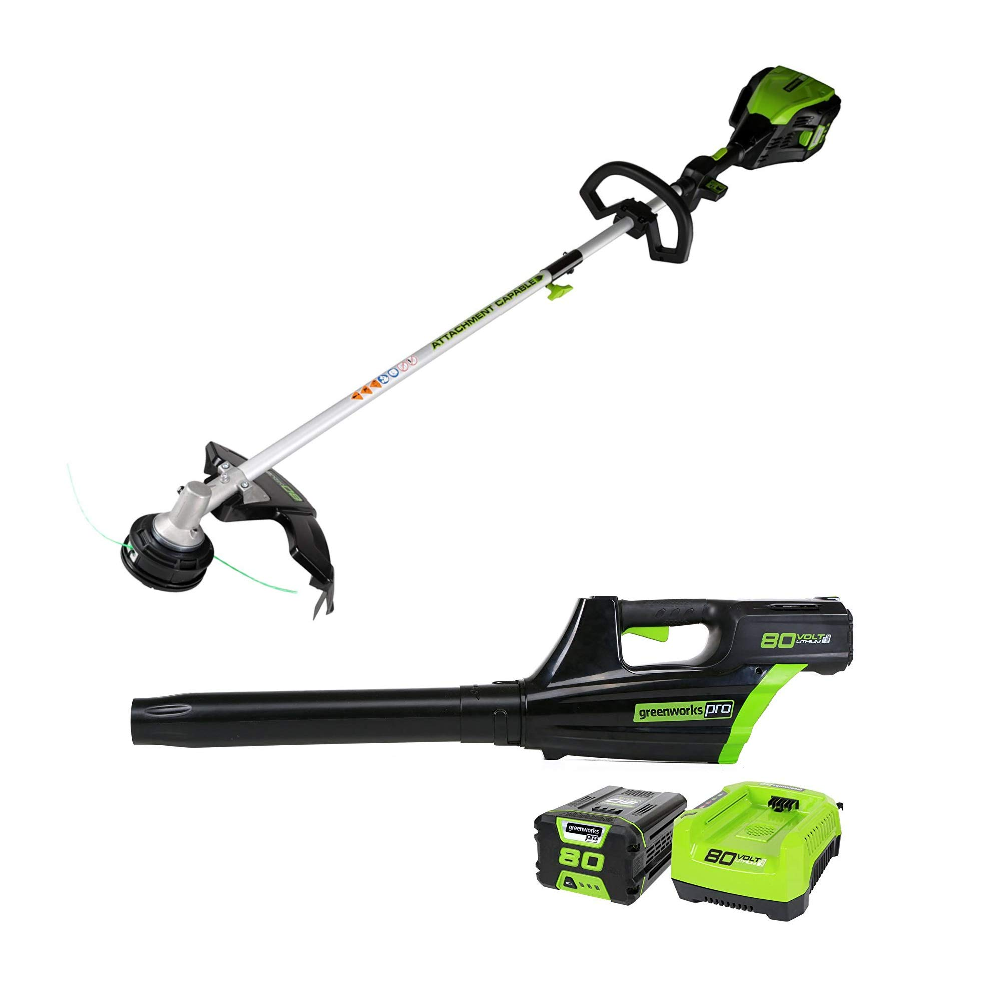 Greenworks Pro 80V Cordless Brushless 16'' String Trimmer + Axial Blower Combo Kit, Battery and Rapid Charger Included