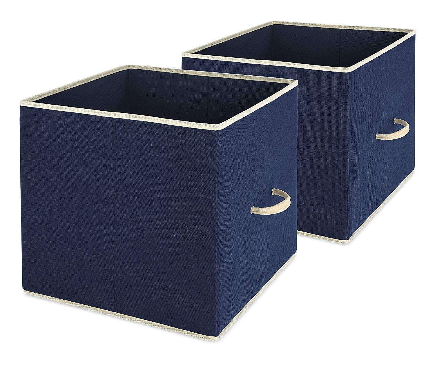 Collapsible Storage Bin, Set of 2 - Foldable Cloth Storage Cube – Perfect Organizer for Playrooms, Living Room or Bedroom – Space Saving Design – Durable – Color Navy by Whitmor WH-6725-909-2