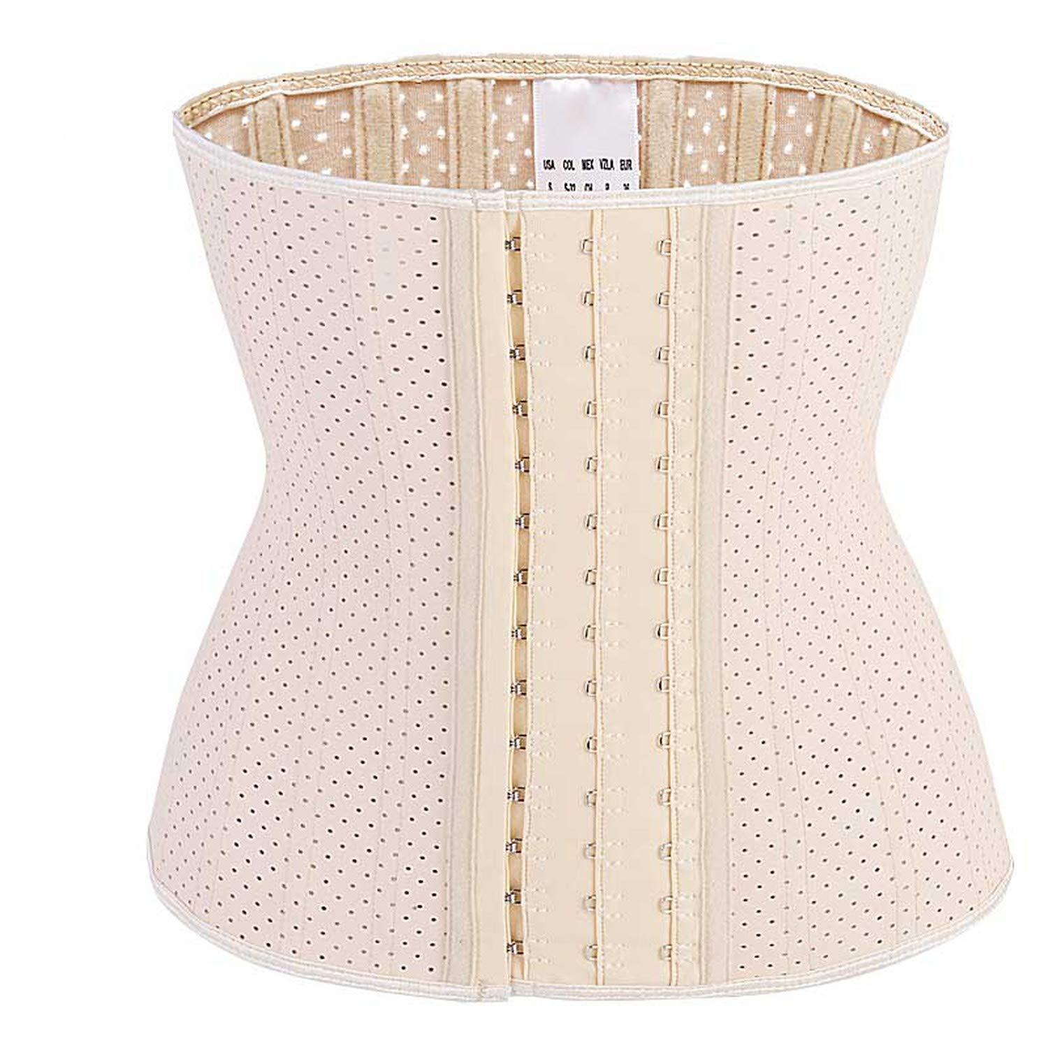 Breathable Smooth Latex Waist Trainer 25 Spiral Steel Boned Corset Underbust Waist Cincher Hooks /& Eyes Waist Trimmer