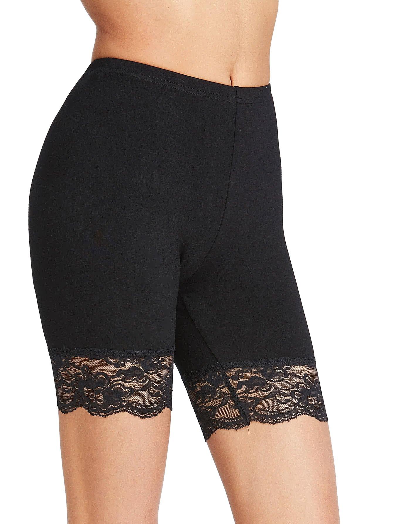 SweatyRocks Women's Sexy Thin Stretch Short Leggings with Lace Trim Black L
