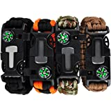 TECH-P 5 in 1 Multifunctional Paracord Bracelet with Compass Flint Fire Starter Scraper Whistle- 2 Pack