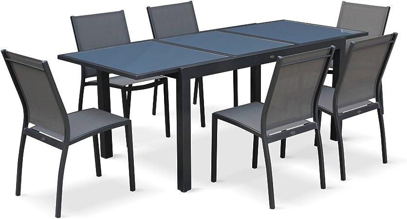 Salon de Jardin Table Extensible - Orlando Gris foncé - Table en Aluminium  150/210cm, Plateau de Verre, rallonge et 6 chaises en textilène