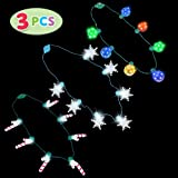 JOYIN 3 PCS LED Light Up Disco, Candy, Snowflakes Necklaces with 6 Different Light Flashing Modes Party Accessories…