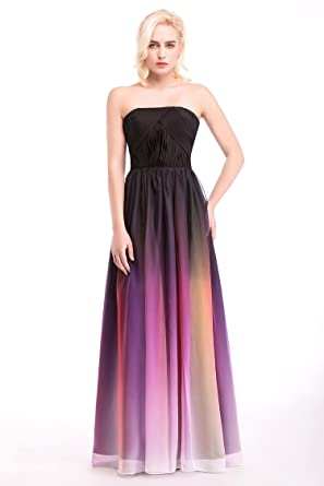 Womens Formal Evening Gowns Floor Length Chiffon Prom Dresses Strapless (2, purple)