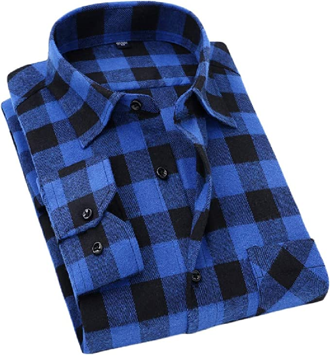 Etecredpow Men Plaid Loose Brushed Long-Sleeve Button Down Casual Shirts