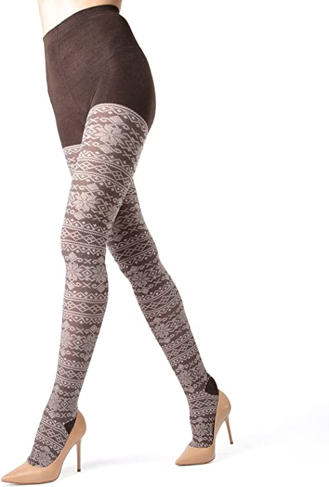 d905824a2165a MeMoi Selbu Sweater Tights | Women's Hosiery - Pantyhose - Nylons Brown  Heather MF7 121 Small