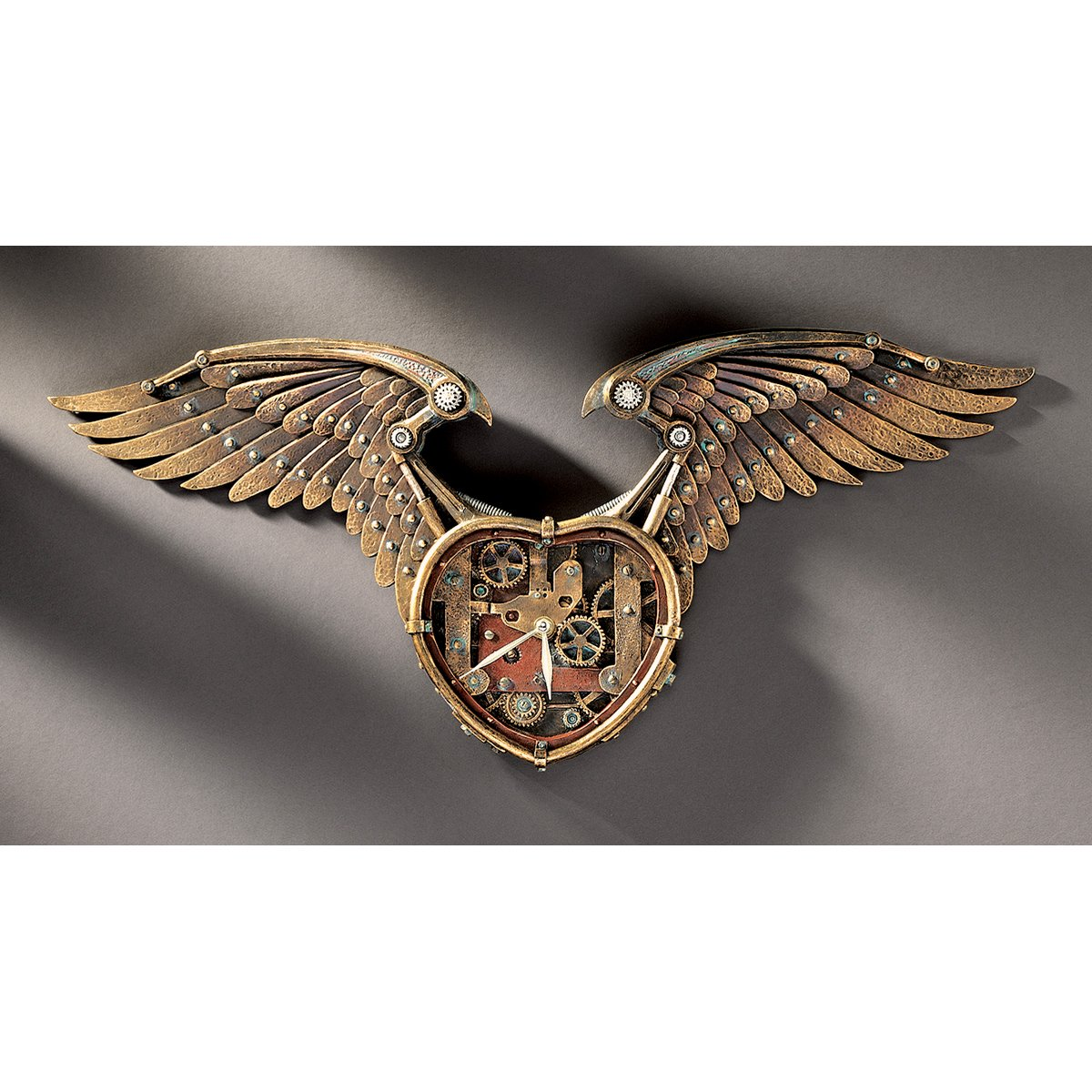 Amazon design toscano steampunk winged heart sculptural wall amazon design toscano steampunk winged heart sculptural wall clock home kitchen amipublicfo Images