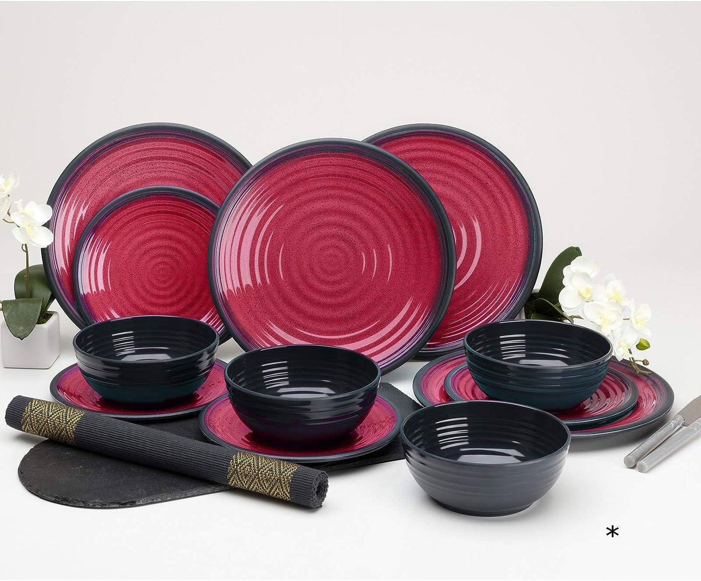 Vajilla de melamina de 12 Piezas, Platos y Cuencos, Color Rojo, vajilla de Camping, para 4 Personas, Picnic, Camping