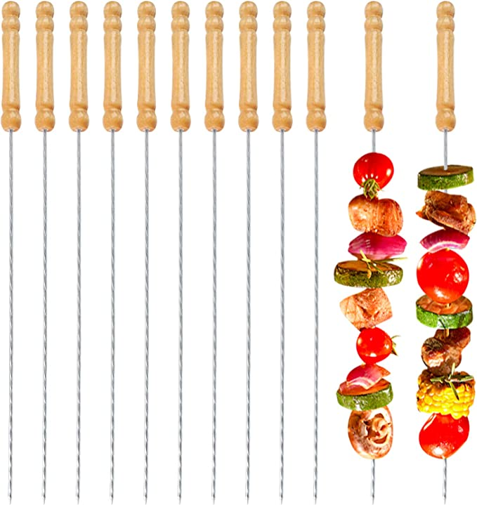 6Pcs BBQ Skewers Stainless Steel Barbecue Grill Needle Wooden Handle Fork dly3-4