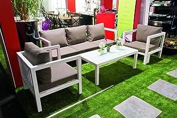Salon de jardin modulable 5/6 places taupe, aluminium - Curtis ...