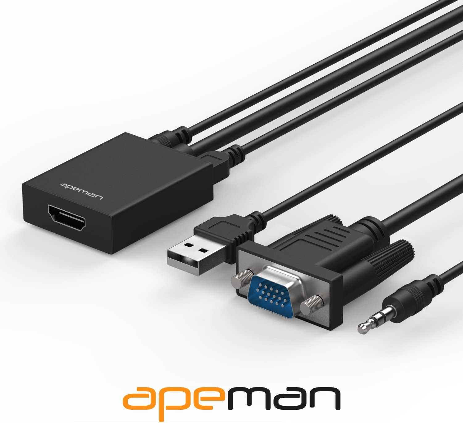 AV APEMAN VGA to HDMI Converter Adapter with Audio Support 1080P HDTV and USB Cable for Power Supply Supported for TV DVD Laptop Projector Computer