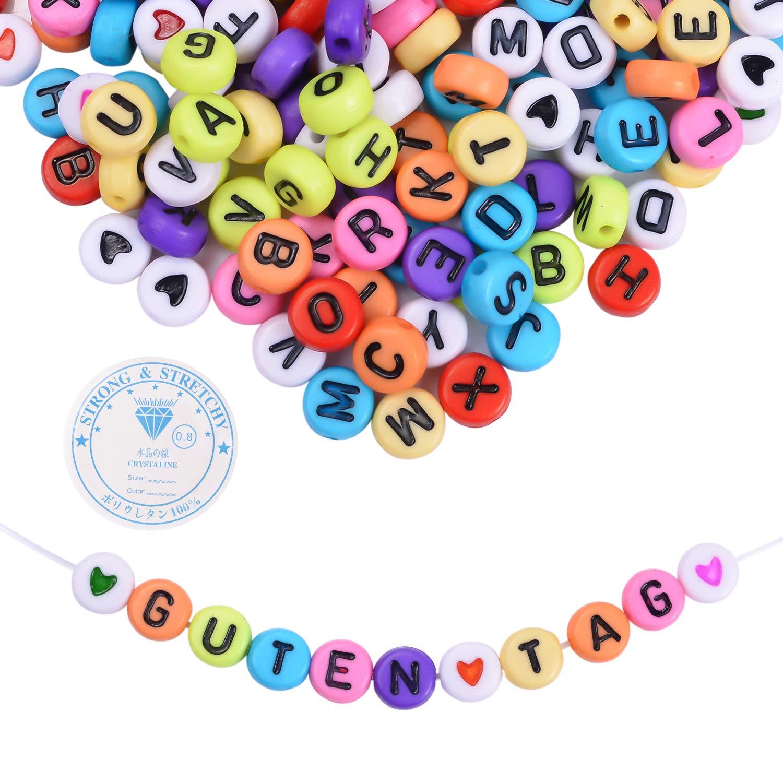 EKKONG 1200 pcs Acrylique Lettre de l'alphabet A-Z Perles avec cordon pour la fabrication de bijoux, bracelets, colliers, chaînes porte-clés et bijoux pour enfants (multicolore)