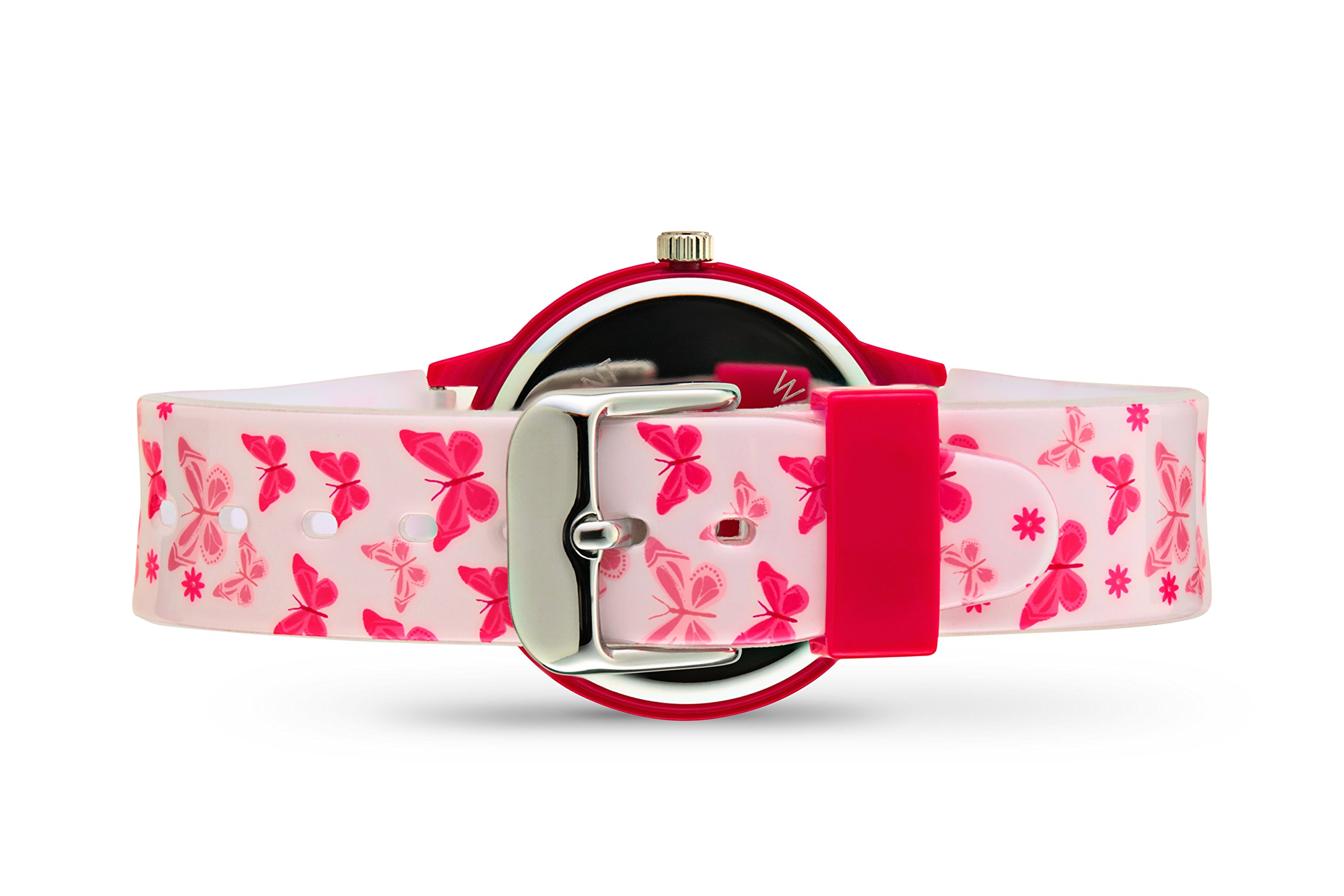 Ovvel Girls Watch - Pretty and Cute Kids Wrist with Teaching Analog Display Time Teacher - Japanese Quartz Movement - Pink Butterfly Design by Ovvel (Image #2)