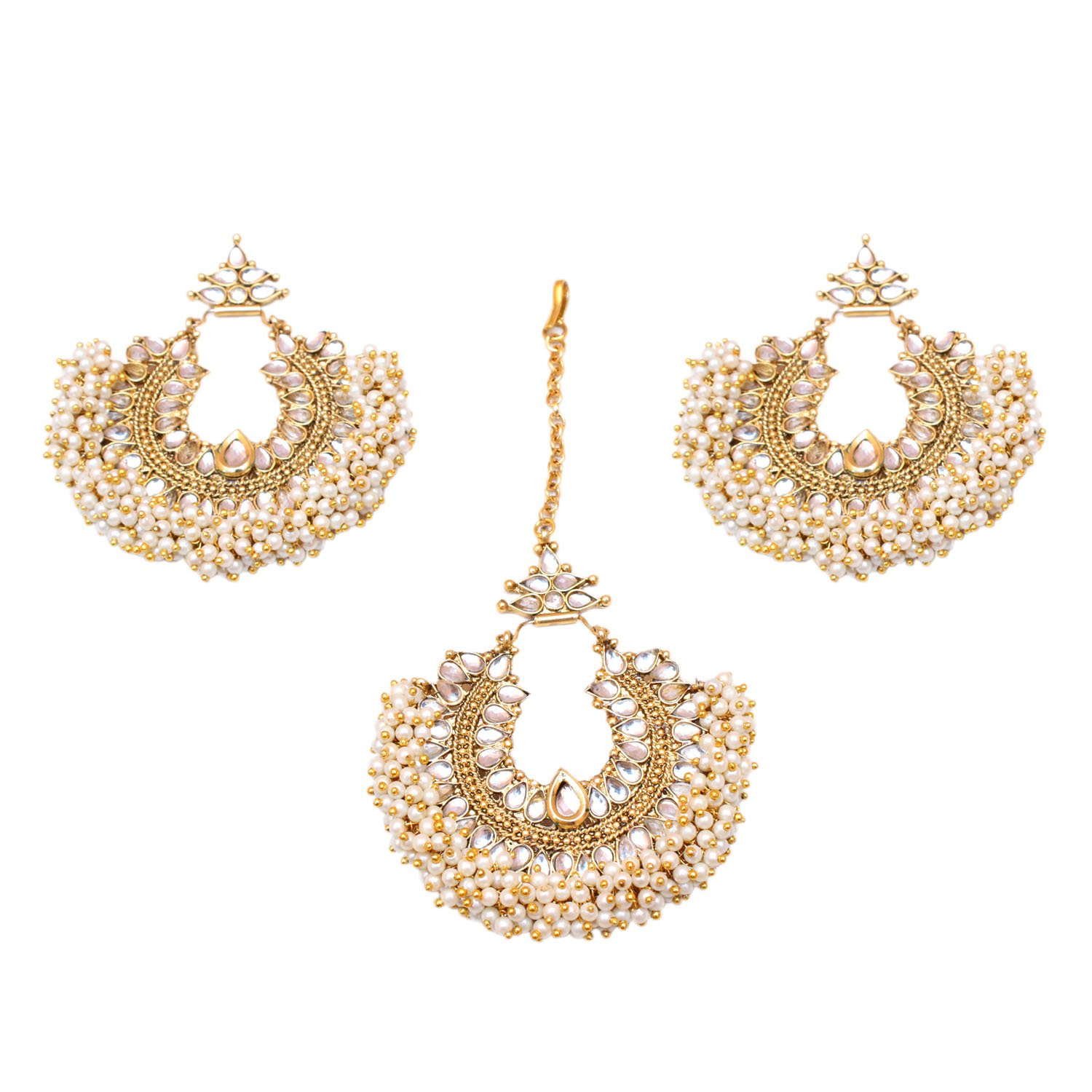Indian Traditional Gold Plated Pearl Maang Tikka Pearl Chain Forehead Indian Pakistani Jewelry