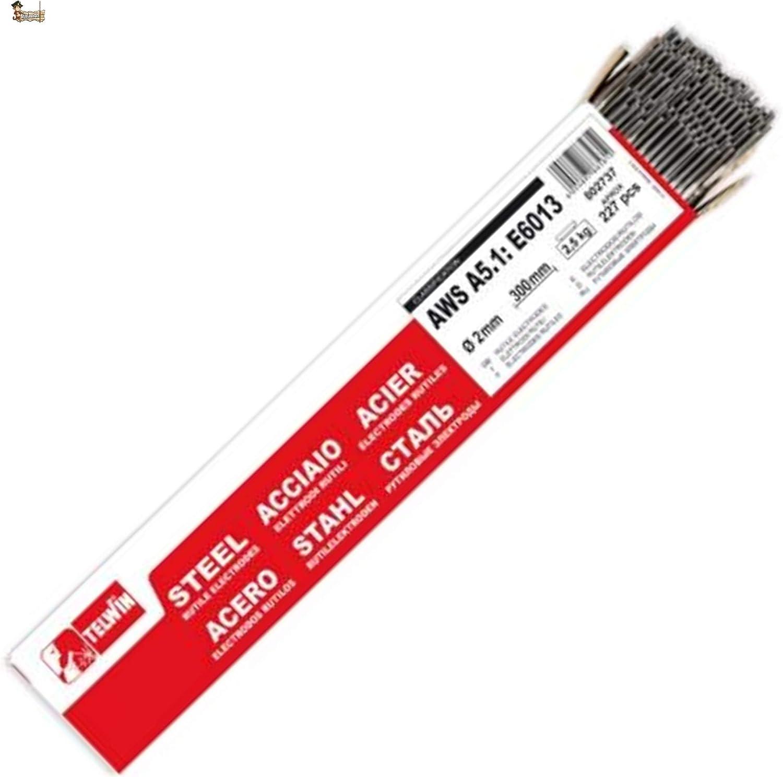 BricoLoco Electrodos soldadura rutilo para soldar hierro y acero. 2,0x300 mm. Paquete 227 uds. Proporcionan buena estabilidad del arco. Revestidos revestimiento especial. (1)
