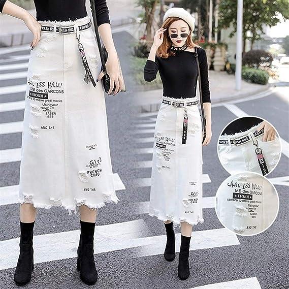Falda vaquera para mujer, cintura alta, falda larga, color blanco ...