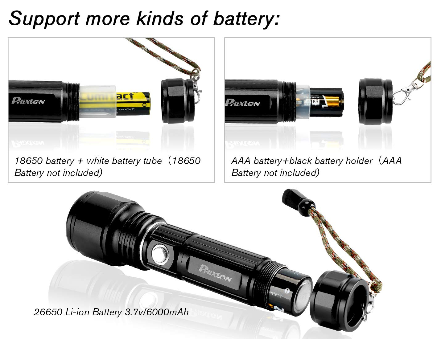 Rechargeable Tactical Flashlight Super Bright L2 LED High Lumens Flashlights Zoomable Camping Light 6000mAh 26650 Battery USB Cable Gift Box Included For Hiking Emergency Everyday Useage