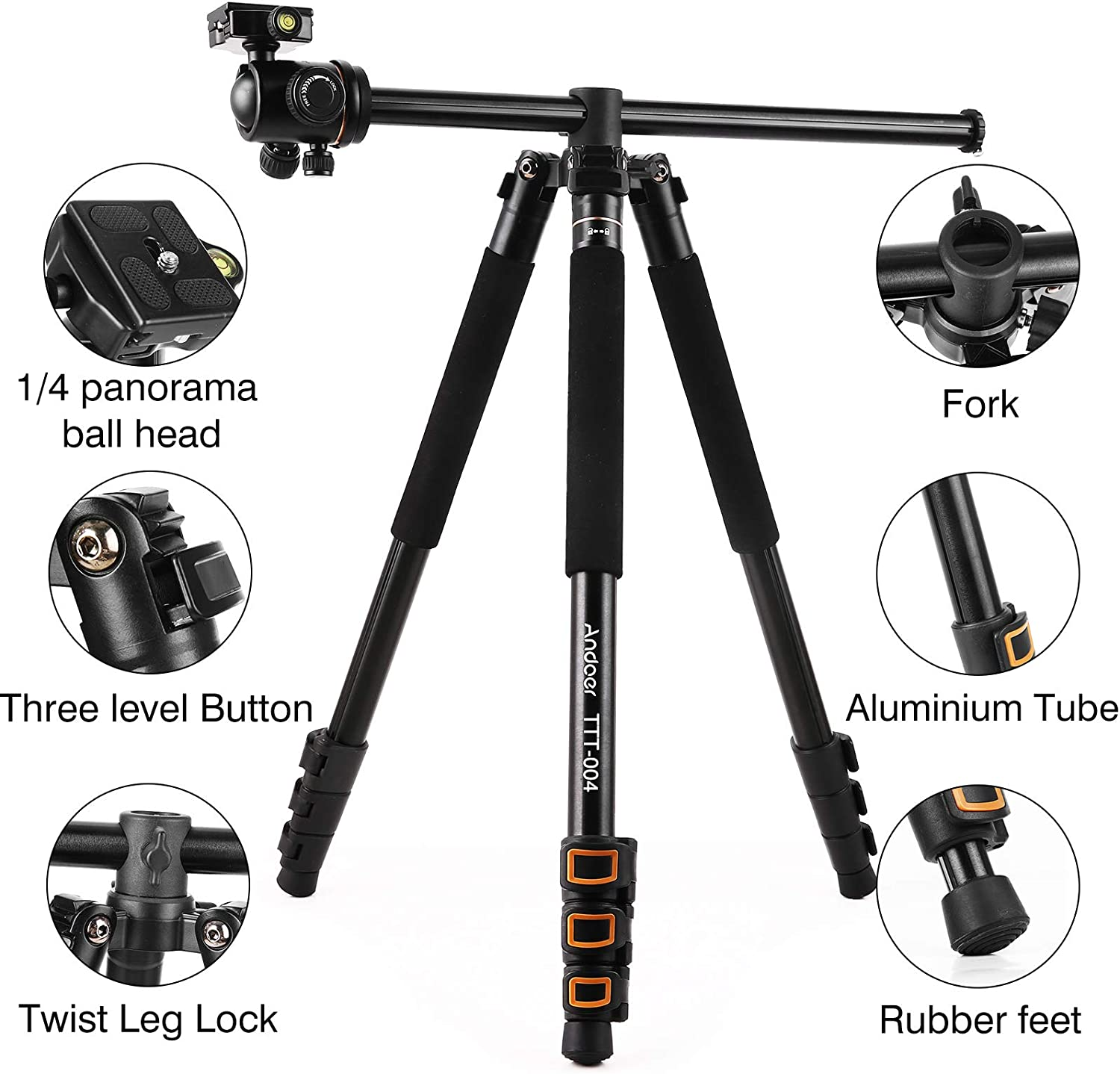 with storage bag 4-section retractable monopod with spherical head Andoer 78.7inch//200cm central axis horizontal aluminum alloy tripod maximum load 8kg,for video Vlog and travel camera
