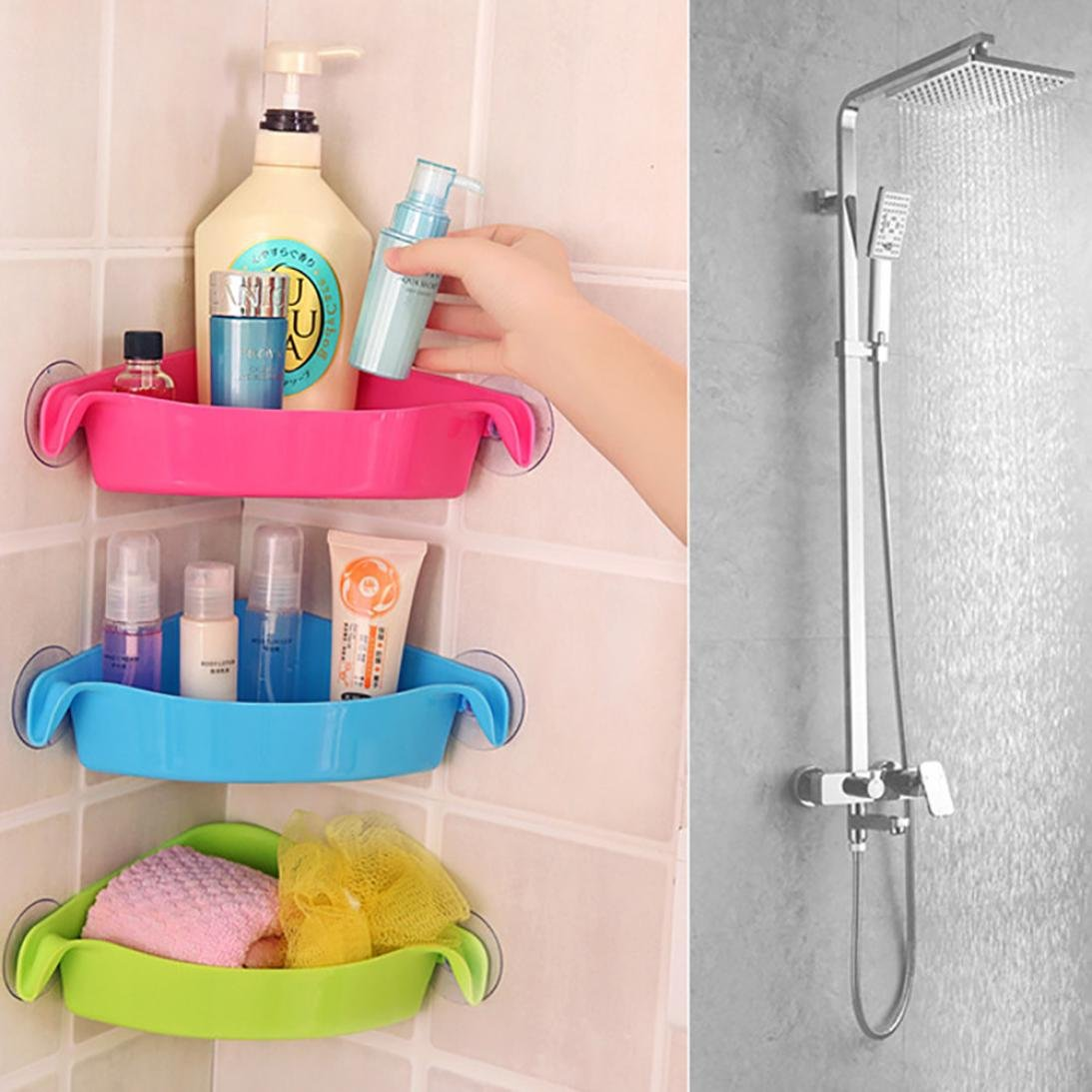 IGEMY Home Bathroom Corner Shelf Suction Rack Organizer Cup Storage Shower Wall Basket (Blue)