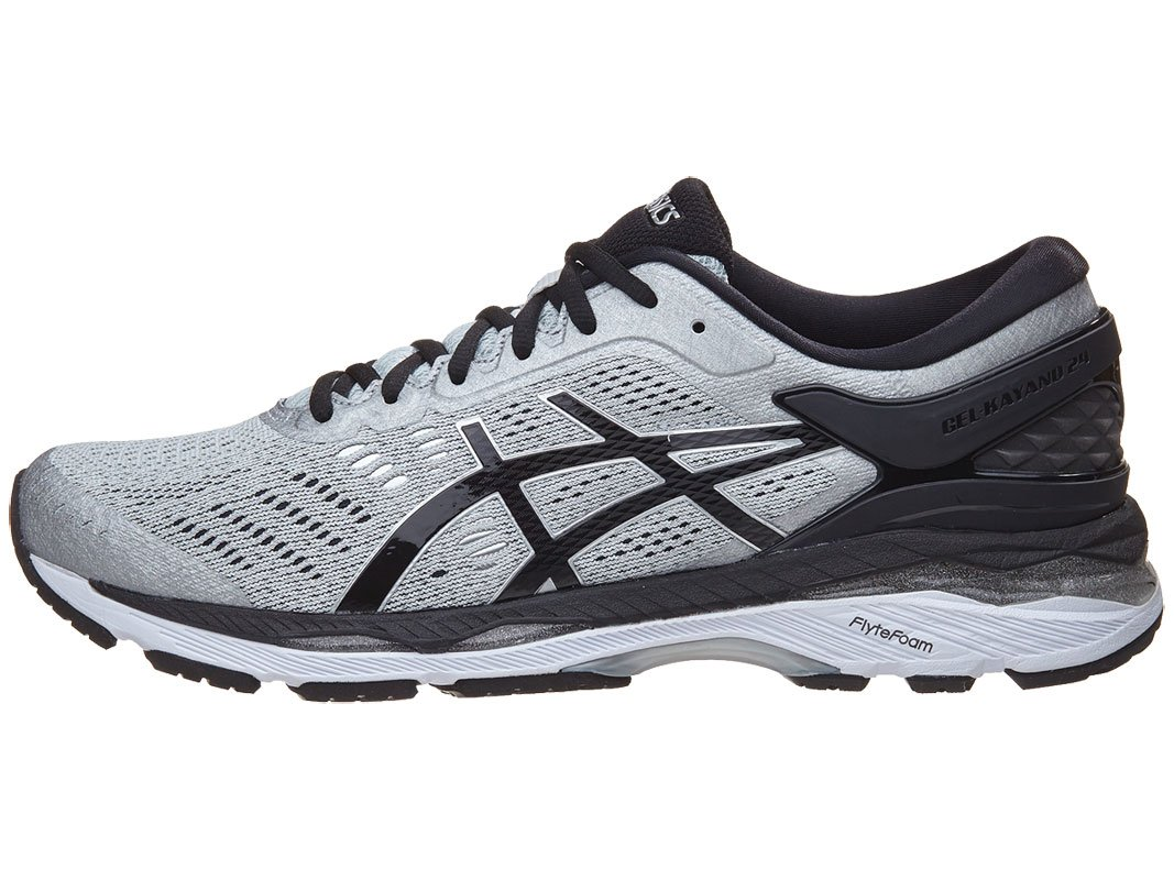 ASICS Men's Gel-Kayano 24 Running Shoe, Silver/Black/Mid Grey, 11 Medium US by ASICS