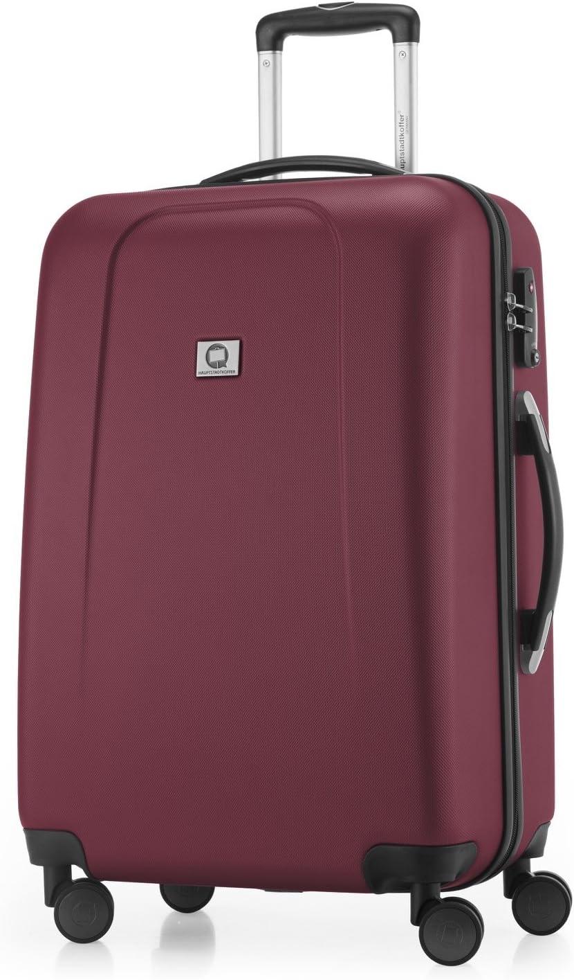 Hauptstadtkoffer® - Maleta de viaje (diferentes tamaños y colores, con 4 ruedas que giran 360 grados, candado TSA) rojo granate large