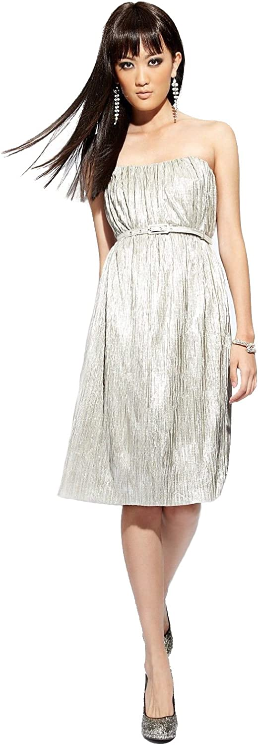 French Connection Womens Metallic Strapless Cocktail Dress Silver 0