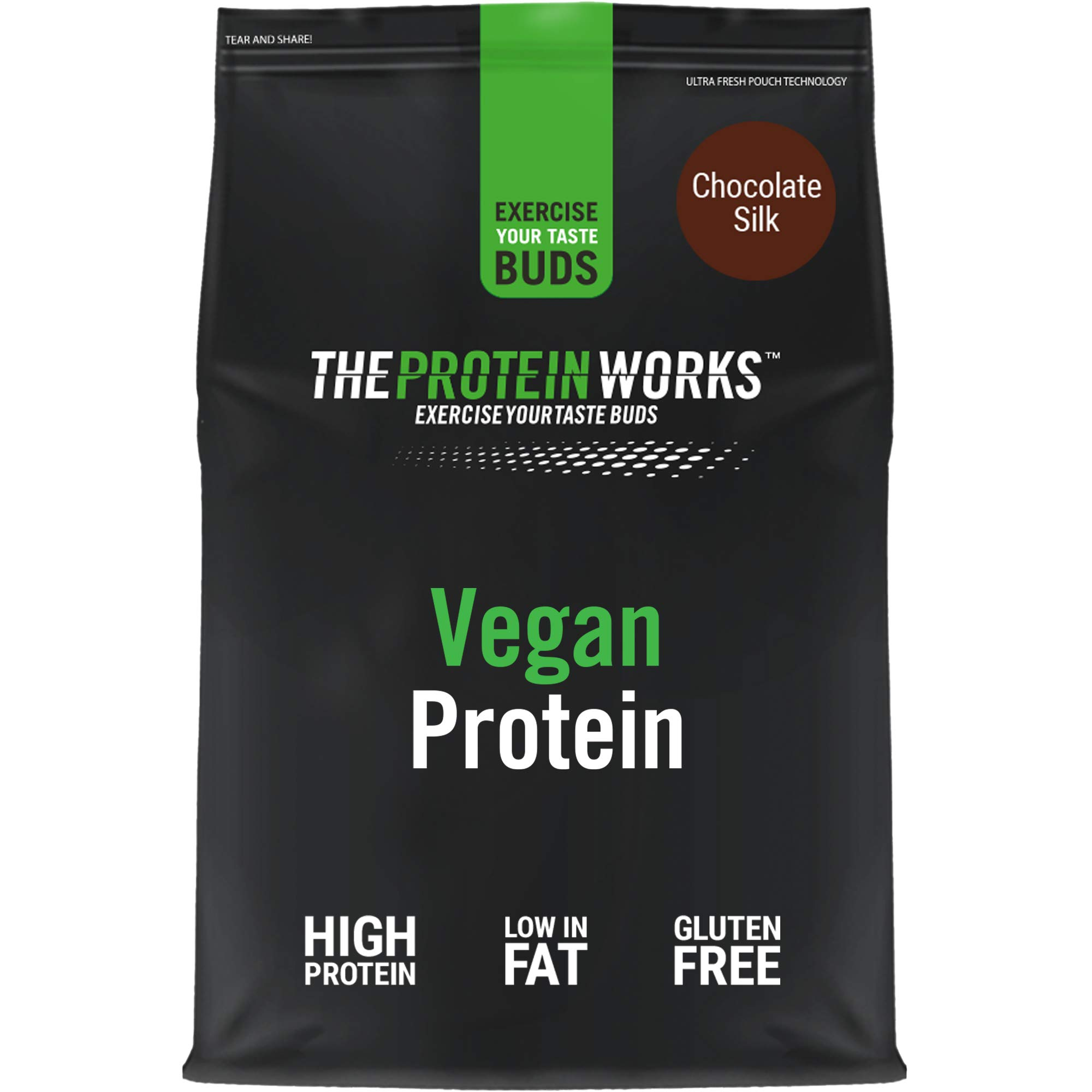Vegan Protein Powder | 100% Plant-Based & Natural | Gluten-Free | Zero Cruelty | Low Fat Shake | THE PROTEIN WORKS | Chocolate Silk | 1 Kg