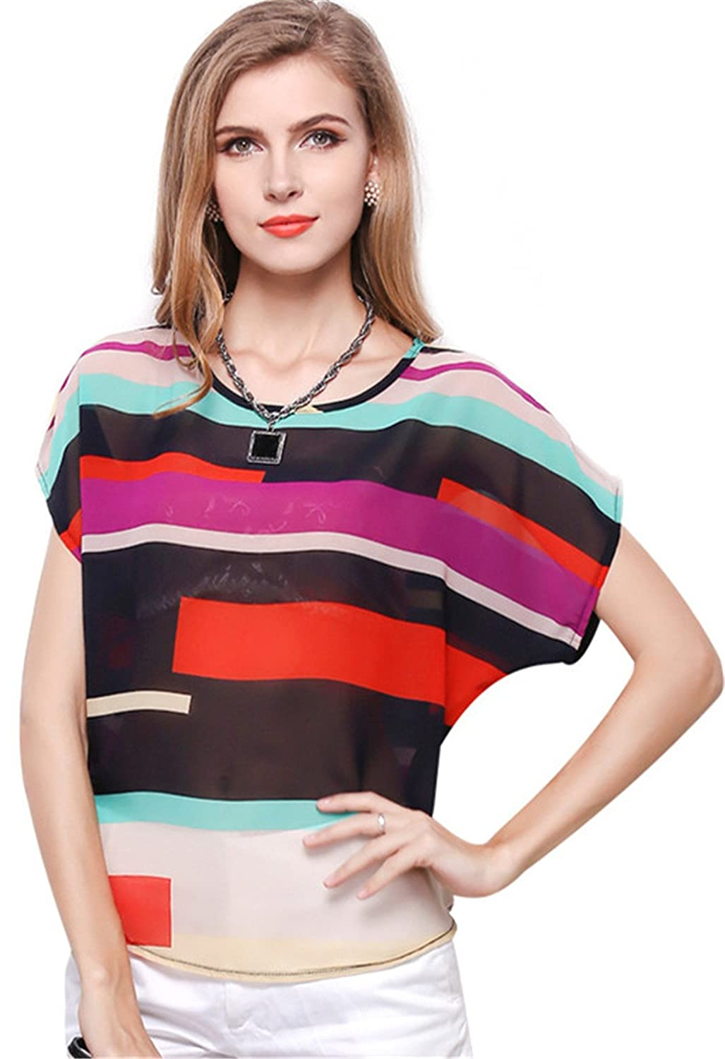 ab48a7d45f088 Arctic Cubic Short Sleeve Batwing Dolman Sleeve Colorful Colorblock Stripe  Sheer Chiffon Blouse Shirt T-Shirt Top at Amazon Women s Clothing store
