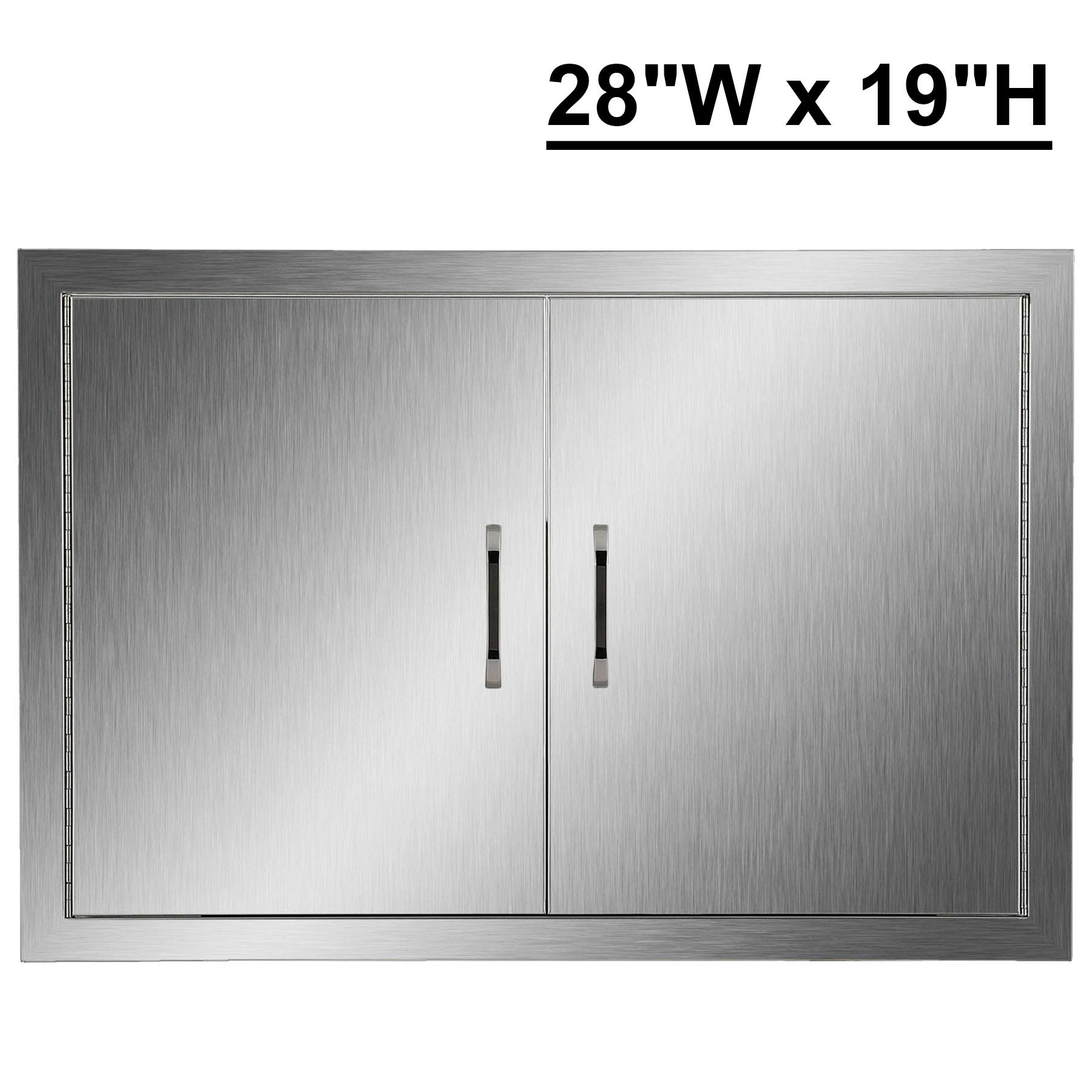 CO-Z Outdoor Kitchen Doors, 28'' W x 19'' H Double BBQ Access Doors for Outdoor Summer Kitchen, 304 Stainless Steel Commercial BBQ Island, Grilling Station, Outside Cabinet, Barbeque Grill, Built-in