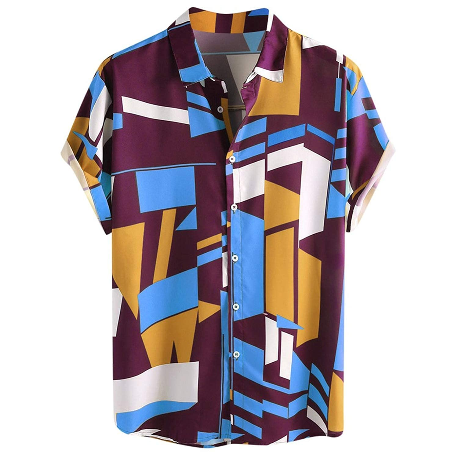 LiDuoMan Summer Mens Contra Color Geo Printed Turn Down Short Sleeve Loose Shirts S,Gn,XL,
