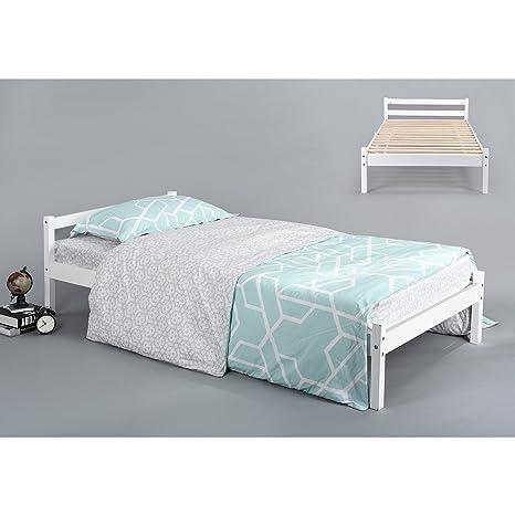Struttura letto in legno naturale robusto telaio letto singolo in ...