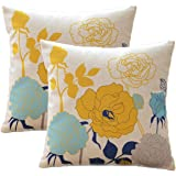 Sykting Sofa Pillow Cases Throw Pillow Covers 18 x 18 Pack of 2 Birds & Flowers Series Cotton Linen Cushion Covers