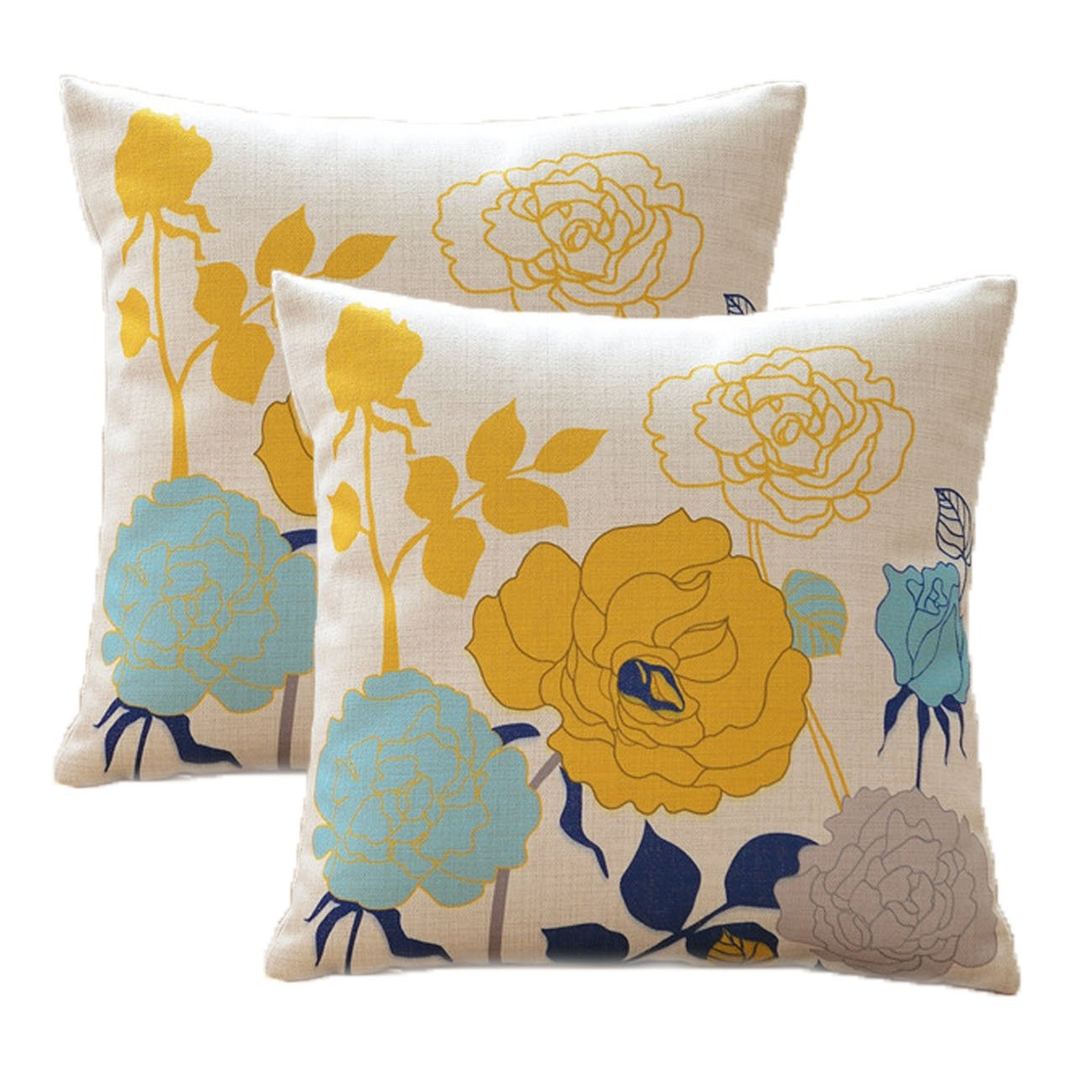 sykting Fall Pillow Covers Farmhouse 18 x 18 inch Pack of 2 Square Pillow Covers for Fall Decorations