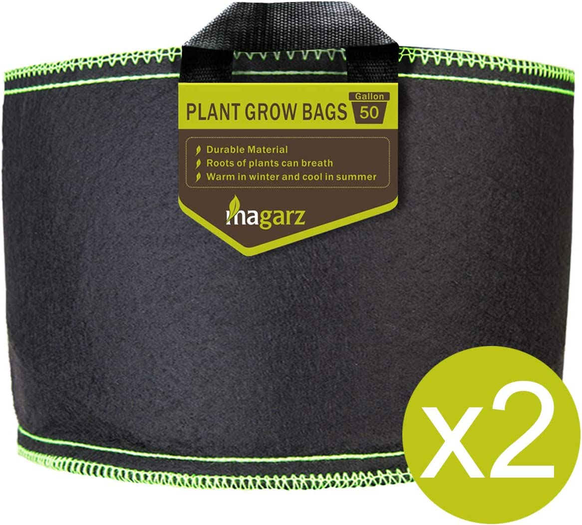 Magarz 2-Pack 50 Gallon Fabric Flower Pots Garden Felt Grow Bags with Handle Black