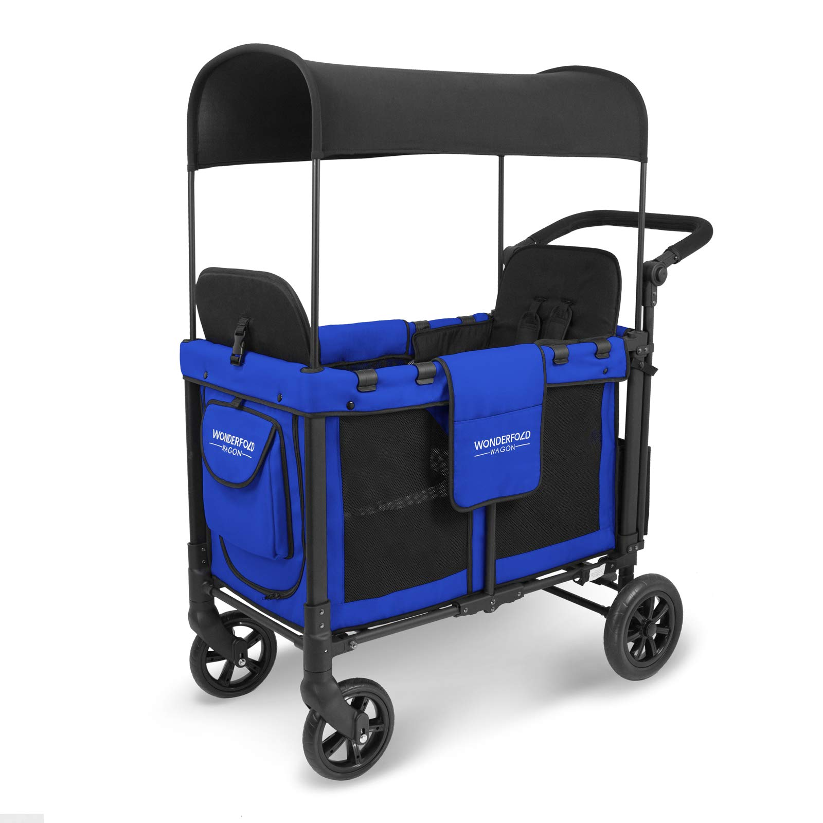WonderFold Multi-Function Push 2 Passenger Double Folding Stroller, Adjustable Canopy & Removable Chair Seat Up To 2 Toddlers (Royal Blue) by WonderFold