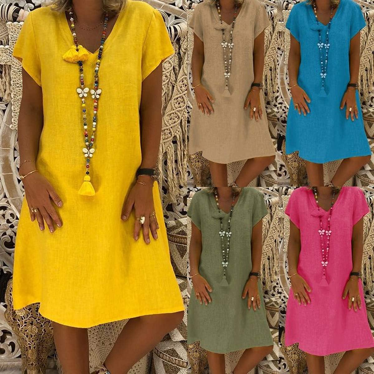 Moceal Sommerkleid Leinen Kleider Damen V-Ausschnitt Strandkleider Einfarbig A-Linie Kleid Boho Knielang Kleid Partykleid Minikleider Blusenkleider Ohne Zubehör Blau