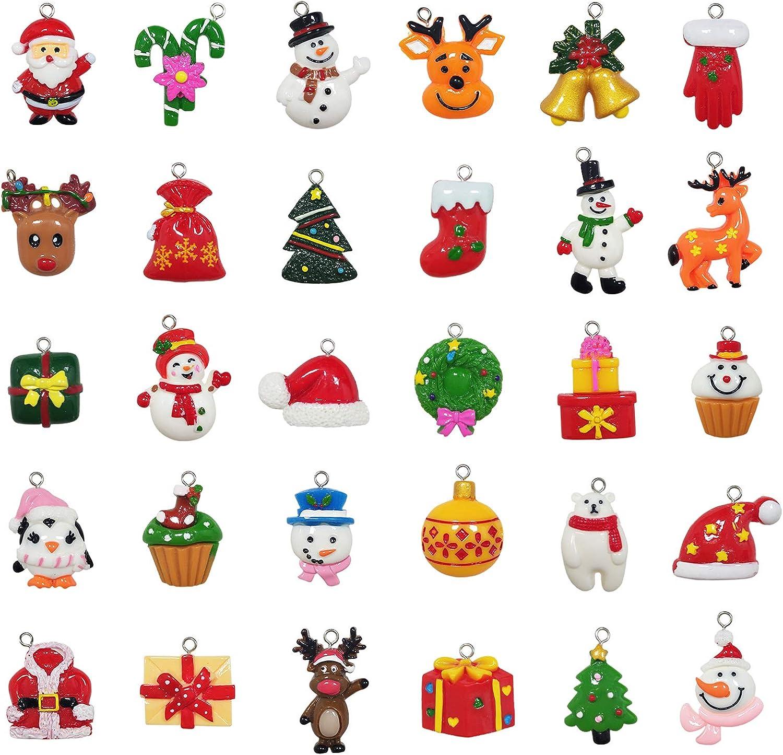 30pcs Christmas Mini Ornaments - Small Resin Christmas Ornaments for Mini Christmas Tree Decorations