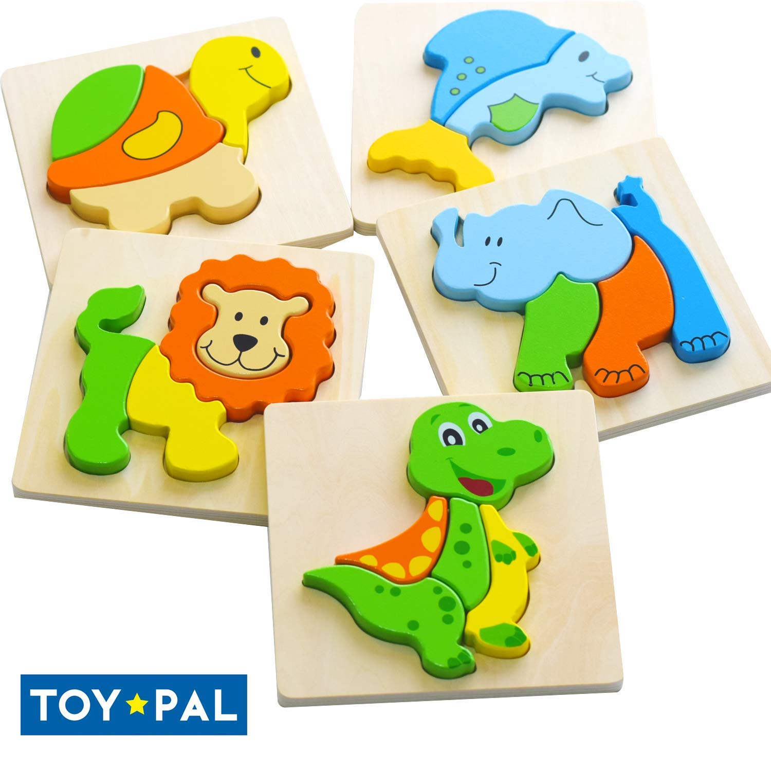 Toy Pal Wooden Puzzles for Toddlers, Set of 5 Animal Jigsaw Toddler Puzzles for 1 2 3 Years Old, Educational Toys Gift for Boys & Girls Age 1 2 3 Years Old by ToyPal