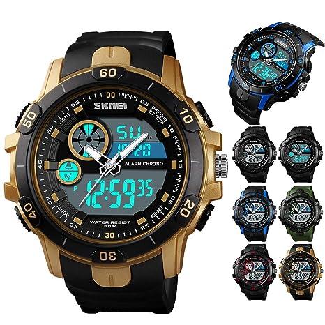 Leyeet Men Military 50M Reloj Digital analógico Impermeable al Aire Libre Cronómetro Deportivo Reloj de Pulsera