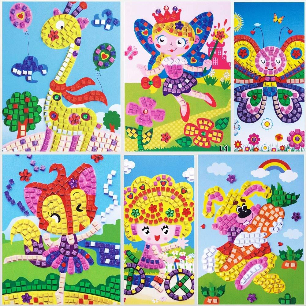 6 im/ágenes Diferentes Lizipai Arte de la Etiqueta engomada de Mosaico para ni/ños Puzzles Hechos a Mano Kits de Arte /Ángel Coche Barco Animales