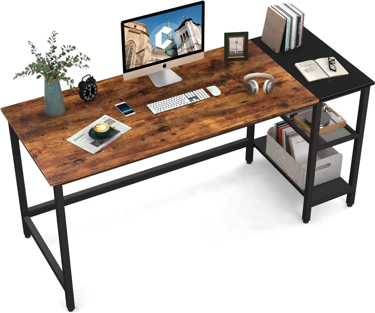 CubiCubi Home Office Computer Desk, 55 Inch Study Writing Table with Storage Shelves, Modern Simple Style PC Desk with Splice Board, Rustic Brown and Black