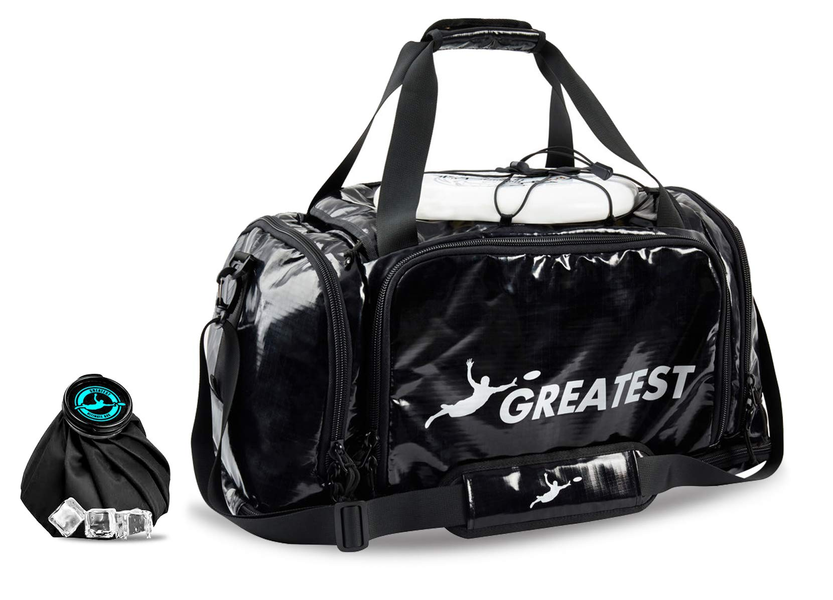 GREATEST Ultimate Bag 60 Liter - #1 World's Ultimate Frisbee Bag. Built in Insulated Cooler Compartment and Organization System. Also Perfect Sports Duffel Bag for Other Outdoor Sports (SILVER) by GREATEST