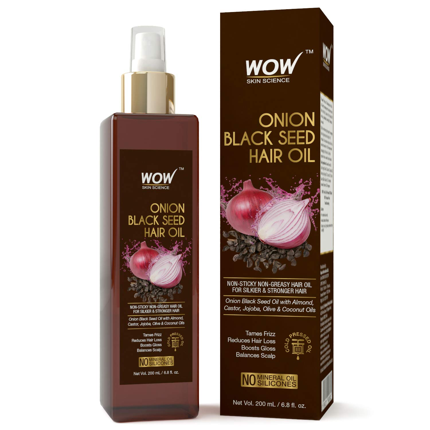 WOW Onion Black Seed Hair Oil - Promotes Hair Growth - Controls Hair Fall - No Mineral Oil & Silicones - 200mL