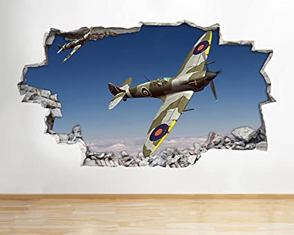Z088 Spitfire Hurricane Aeroplane Army Boys Wall Decal Poster 3D Art Stickers