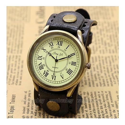 Negro Roma número Dial Vintage pulsera de cuero cuarzo reloj de pulsera hombre Boy Regalo: Amazon.es: Relojes