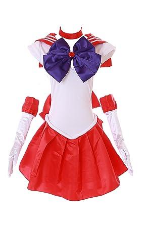 Kawaii-Story H de 6001 Sailor Moon Mars Rojo Blanco Vestido de Cosplay Dress Disfraz