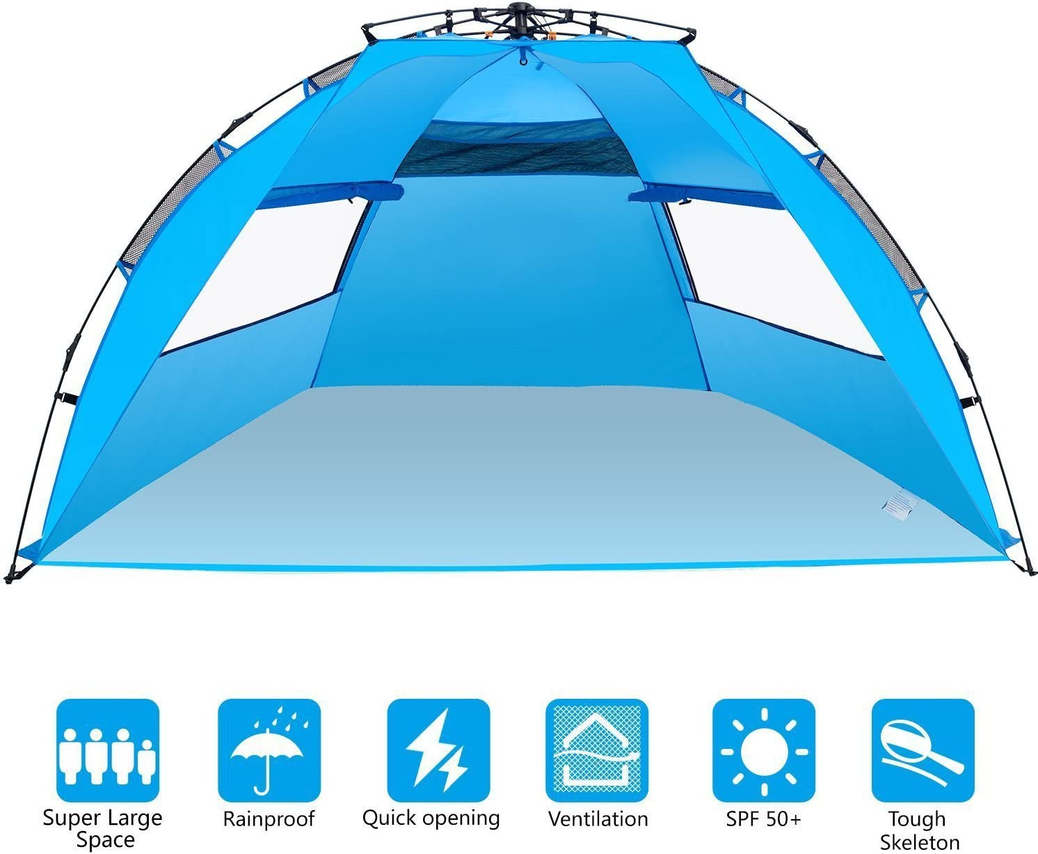 Elover Instant Beach Tent Pop Up Easy Up Sun Shelter Anti UV Beach Shelter for 4 Person Outdoor Camping Fishing Hiking BBQ